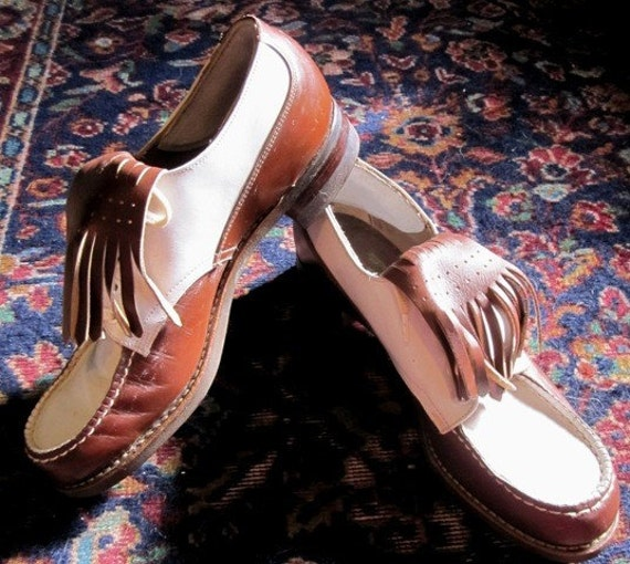 RESERVED for Ashley - Vintage 1940s-1950s Kate Hepburn Spiked and Fringed  Leather Golf Shoes