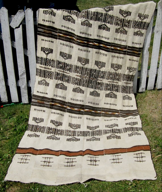 Vintage Hand Woven Moroccan Tribal Camel Hair Blanket / Rug