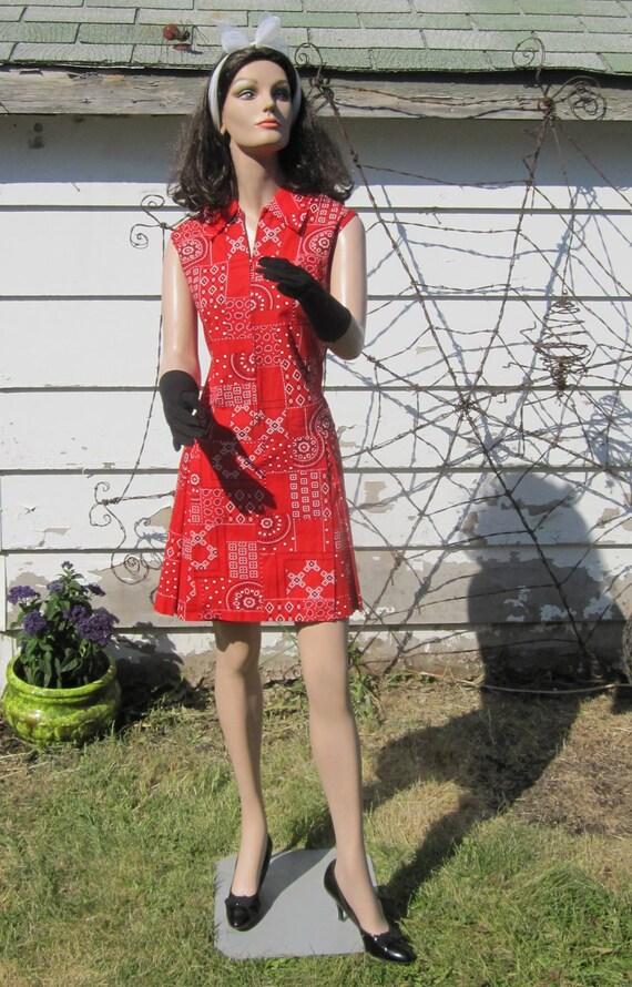Retro 1960's-1970's Sassy Red Cotton Bandana Romper Sundress w/ Culottes (skort) Skirt - LG
