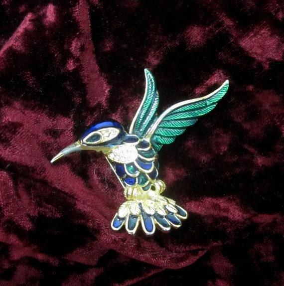 Vintage Enameled Hummingbird in Flight Pin/Brooch with Rhinestones