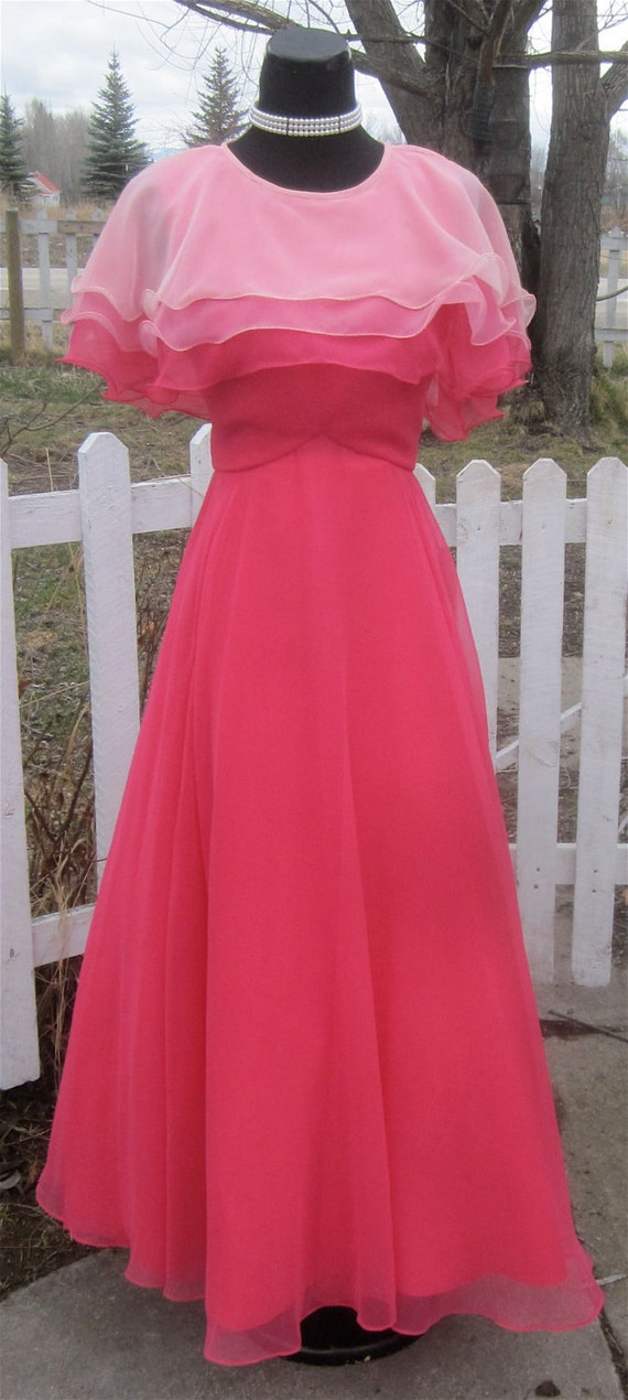 Vintage Fashion -1960's Pink Chiffon Prom Dress Mad Men Maxi Gown By COCO of Cal sz 12