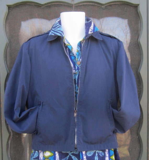 """Vintage 1950's-1960's Mad Men Blue Jacket / Wind Breaker """"Ceiling Zero by Blauer"""" sz 36R"""
