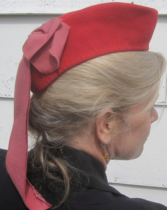 Vintage 1940's Jaunty Red Felt War Bride Hat w/Big Red Bow and Feather Detail