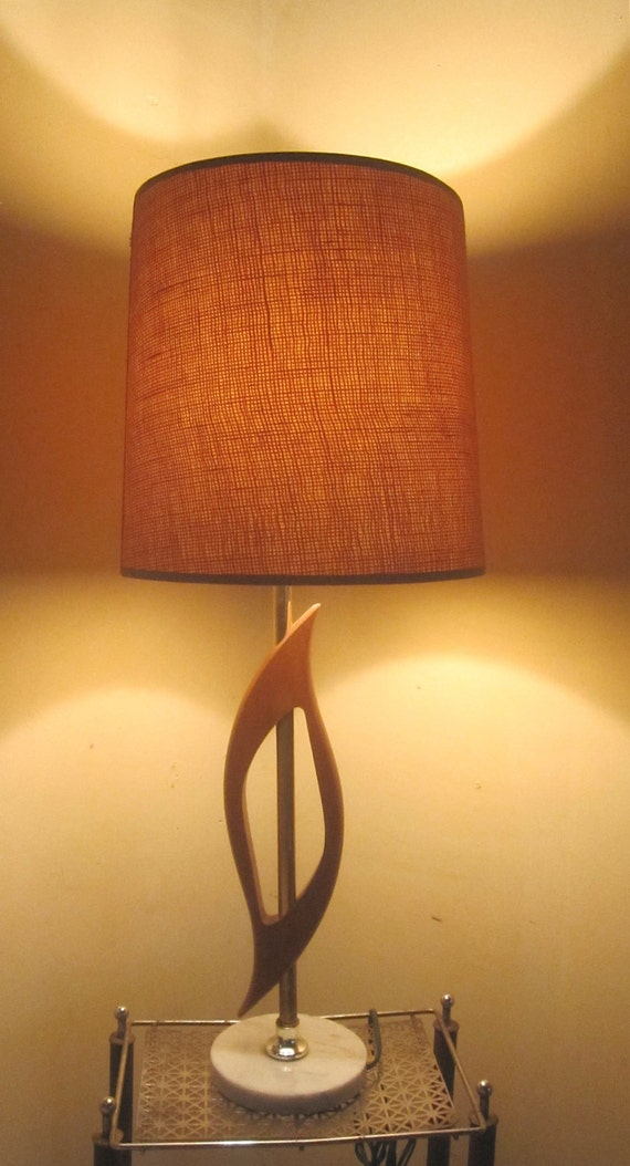 Vintage 1960's Mid Century Danish Modern Wooden Desk Lamp w/ Burlap Shade