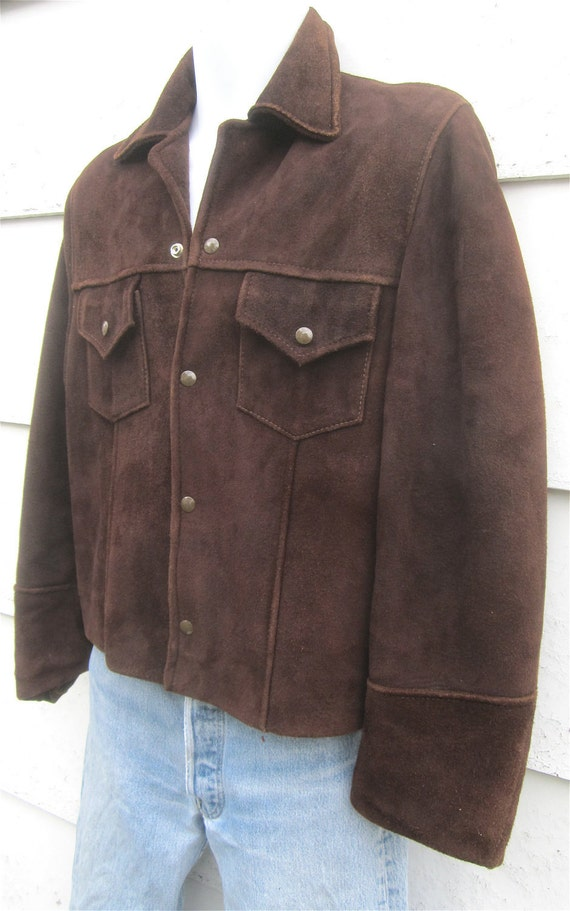 INCREDIBLE Vintage 1950's Man's Chocolate Brown Suede Leather Western Cropped Jacket