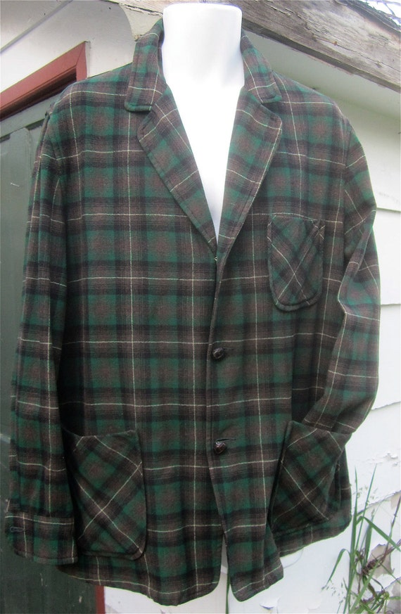 Vintage 1940's Pendleton 49er Virgin Wool Green & Brown Shadow Plaid Jacket size Large