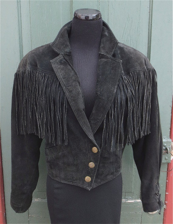Vintage 1980's Black Suede Fringe Jacket w/Cropped & Cinched Waist by Wilsons sz Small