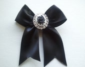 Vintage Victorian Rose Black and White Hair Bow