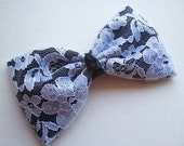 SALE //  White Lace over Black 1980s inspired Hair Bow