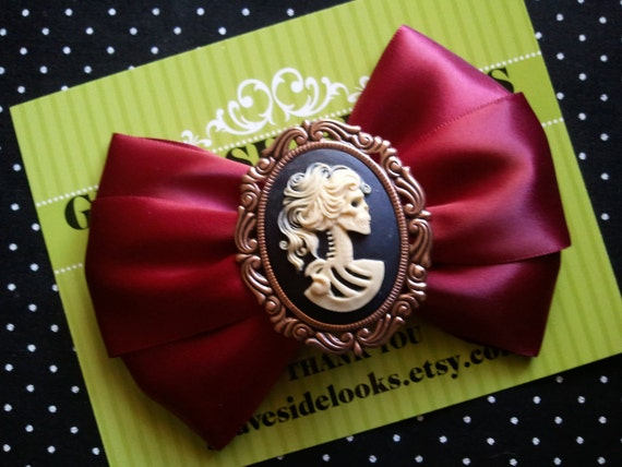 Scarlet Red Day of the Dead Lolita Hair Bow Clip