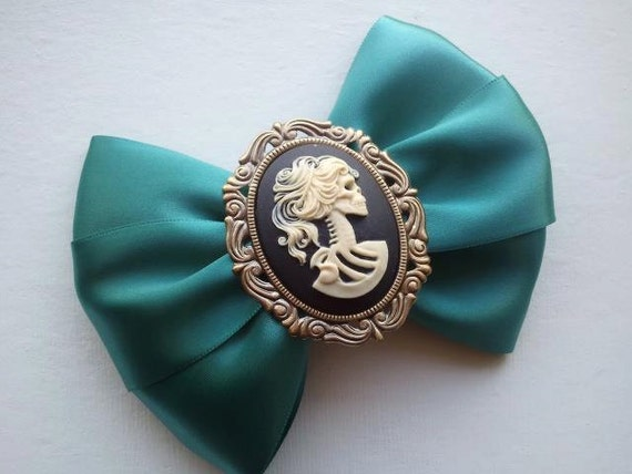 XL Day of the Dead Lolita Hair Bow in Teal