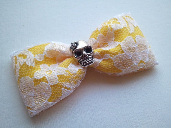 Last One // Bright Yellow with Lace Sugar Skull Hair Bow