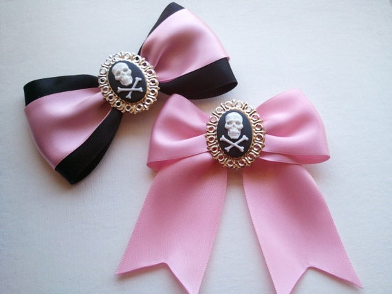 Rose Pink Victorian Skull Gothic Hair Bow // Choose your FAVORITE Style