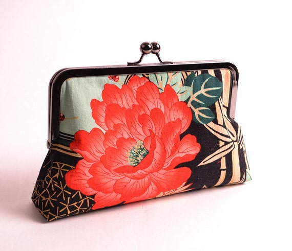 Oriental Red Peony, Bamboo and Stars Clutch with Gunmetal Finish Metal Frame with Kiss Lock Closure
