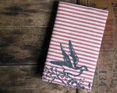 Red Stripe Moleskine Cover Cahier Sketchbook Bird Screenprint Cotton Reusable with Notebook