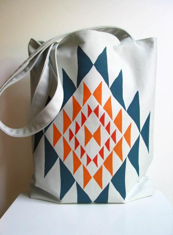 SECONDS SALE Bright Triangles Screenprint Tote Bag