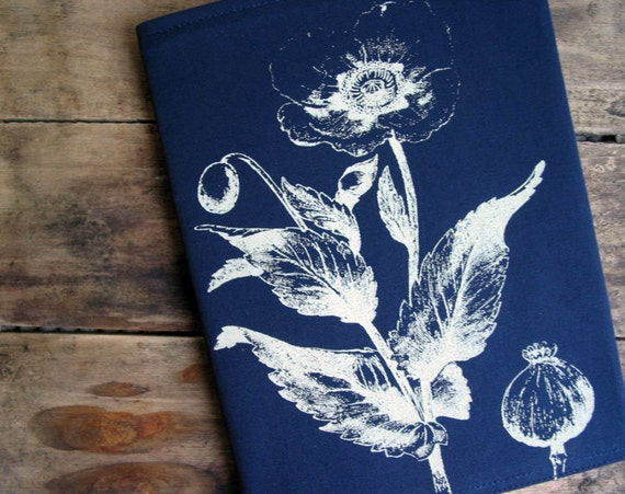 Poppy Flower Screenprint Cotton Fabric Journal Cover with Notebook