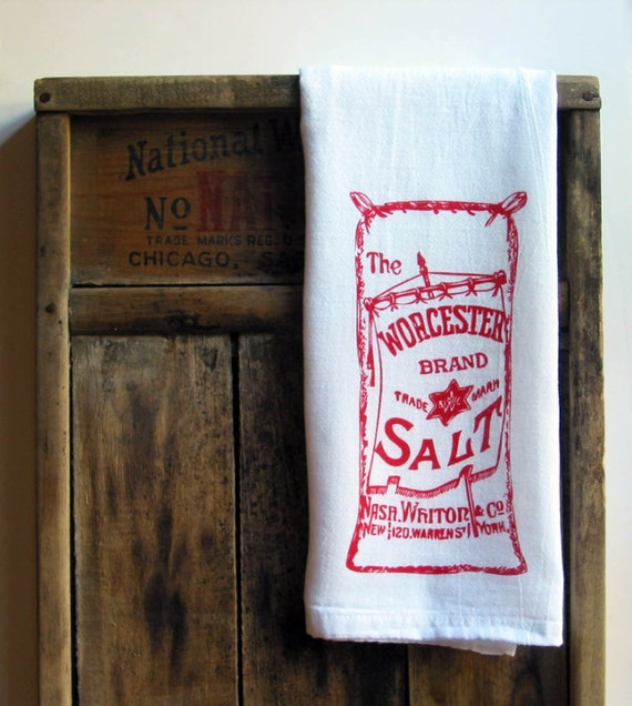Vintage Label Kitchen Towel Red Screenprint By