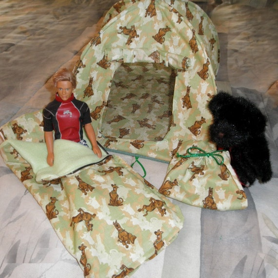 Pop up TENT n Zippered SLEEPING BAG Set Scooby Doo camo for boys or girls