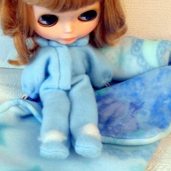 FOOTED PAJAMAS Blue Fleece PJ's for Blythe
