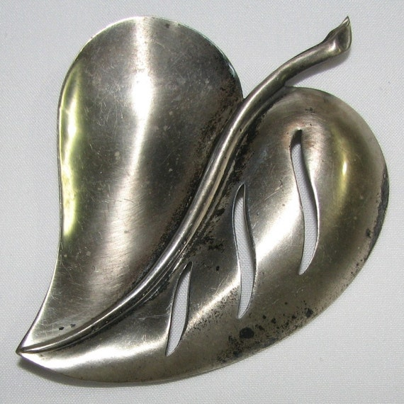 Vintage Sterling Craft Leaf Pin by Coro with Piercing Work (Patented) - FREE SHIPPING