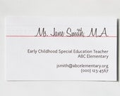 personalized old school handwriting business/calling cards