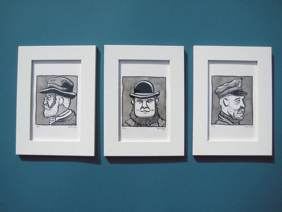 The Fishermen of Southwold framed set of limited edition screen-prints
