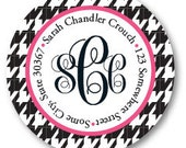 Houndtooth Monogram Address Label Stickers