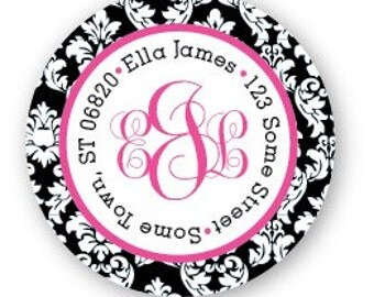 Monogrammed Damask Address Labels - Black and Pink - Monogram Sticker