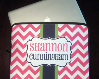 Personalized Chevron Laptop Sleeve - Monogrammed Laptop Case
