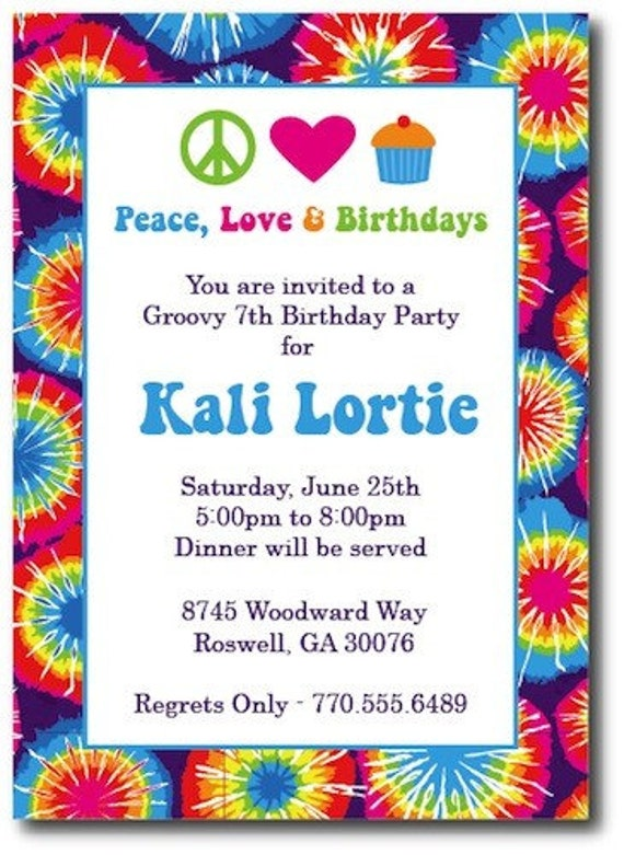 items similar to tie dye invitations