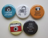 Magnets set of 5 button  mini 1 inch or 1.25 inch photography magnets you choose the size