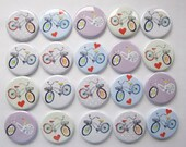 """Bicycle themed set of 20 1"""" or 1.25 inch buttons pinback flatback or hollowback or magnet"""