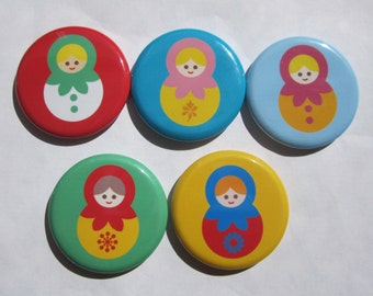 Magnets set of 5 button  mini 1 inch or 1.25 inch russian nesting doll magnets you choose the size