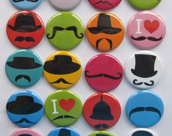 "Funny Mustache buttons set of 1"" or 1.25"" 20 pinback hollowback flatback or magnet buttons"