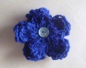 Blue Double Flower Brooch
