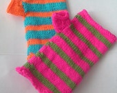 Bright  Mismatching Fingerless Gloves Armwarmers - You Choose the Colours - Made to Order