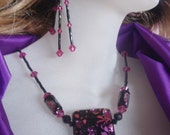 Hot Pink Swarovski Crystals And Dichroic Pendant Necklace Set