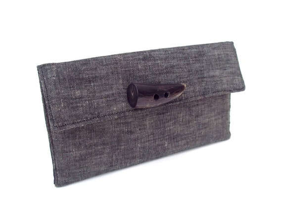 Classic Black Papyrus Clutch Wallet- natural horn accented READY TO SHIP