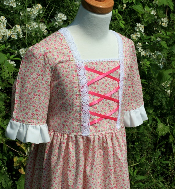 RESERVED- Girl's Colonial Dress with Cap