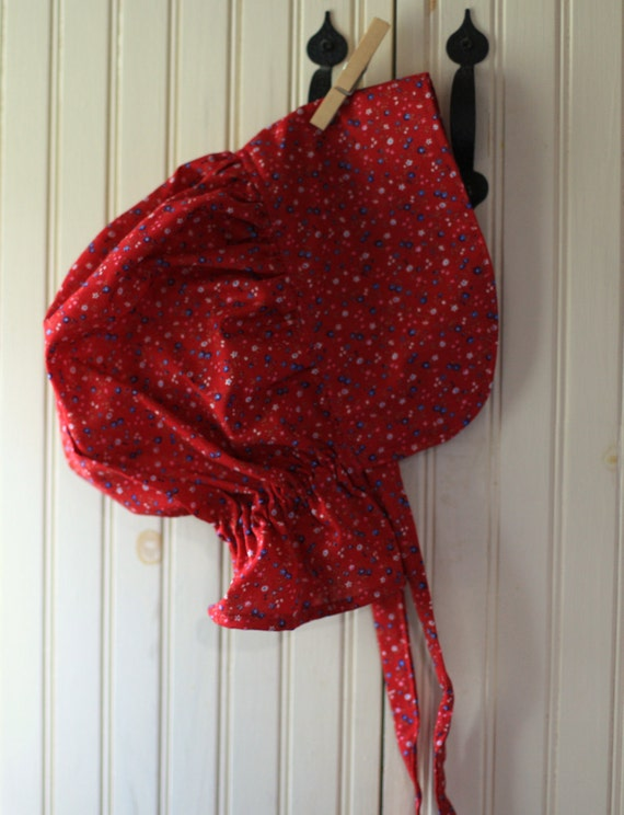 Girls Pioneer Bonnet - Red Calico