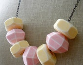 Vintage Pastel Necklace.  Pink and Yellow.  Aged Brass.
