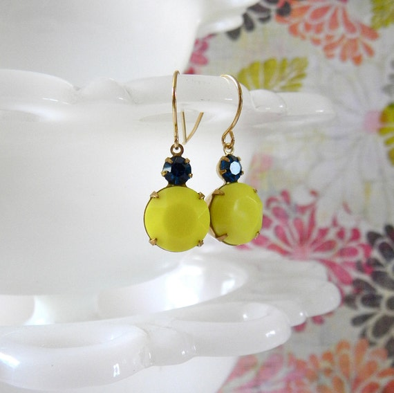 Yellow and Navy Vintage Earrings.  Gold.