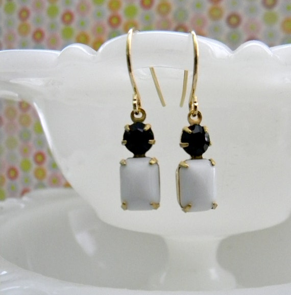Black and White Vintage Glass Earrings.  Gold. Game Day Collection.  Alabama.  UGA. Bengals. Jaguars. Steelers.