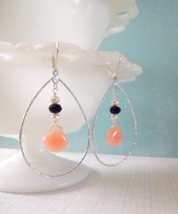 Coral Navy and Pearl Teardrop Earrings.  Matte Silver.  Coral Collection.