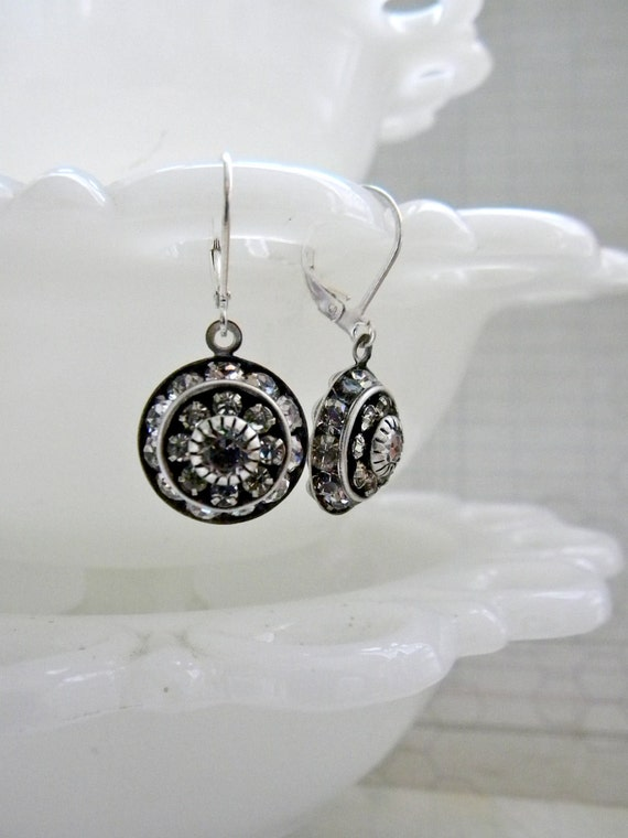 Crystal Clear Earrings.  Silver.  Vintage Style.