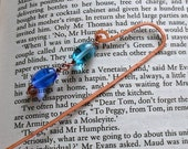 Copper Wire and Blue Bead Bookmark