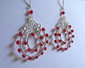 Red Wire Wrapped Double Horseshoe Hoop Earrings in Silver