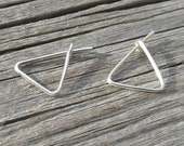 Tiny Triangle Hoop Earrings in Sterling Filled