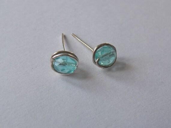 Kauai Lagoon Czech Glass Post Earrings in Sterling Filled
